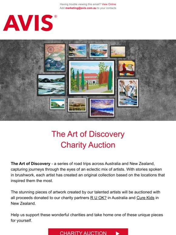Avis Australia Introducing Our Charity Art Of Discovery Auction Milled