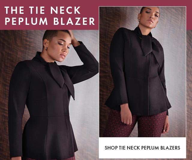 Shop Tie neck peplum blazer