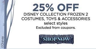 25% off Disney collection Frozen 2 costumes, toys & accessories, select styles, excluded from coupons. Shop now