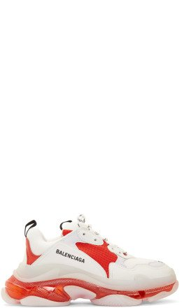 Balenciaga - White & Red Triple S Clear Sole Sneakers