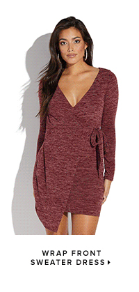 WRAP FRONT SWEATER DRESS