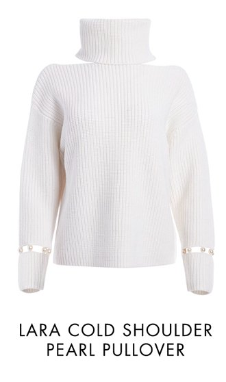 LARA COLD SHOULDER PEARL PULLOVER
