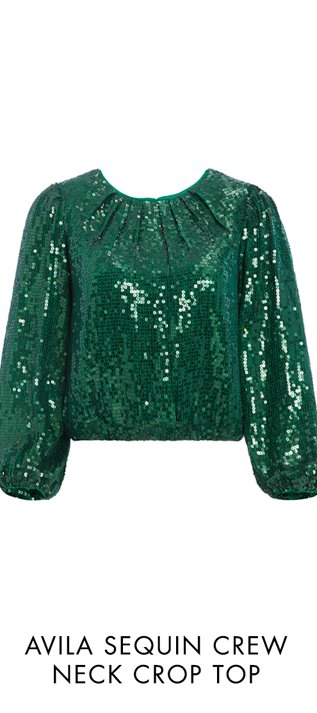 AVILA SEQUIN CREW NECK CROP TOP