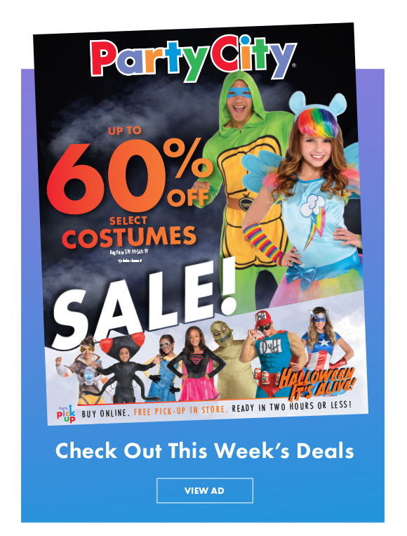 Up to 60% Off Select Costumes | Check Out This Week's Deals | View Ad
