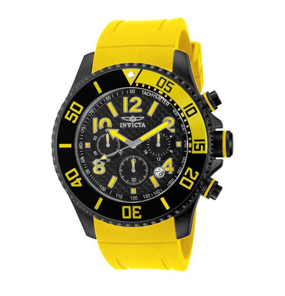 Invicta Pro Diver Quartz Watch - Black case with Yellow tone Polyurethane band