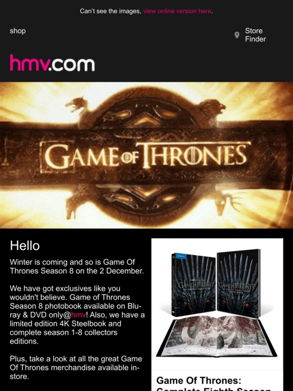 Hmv Season 8 Is Coming Game Of Thrones Exclusives Milled