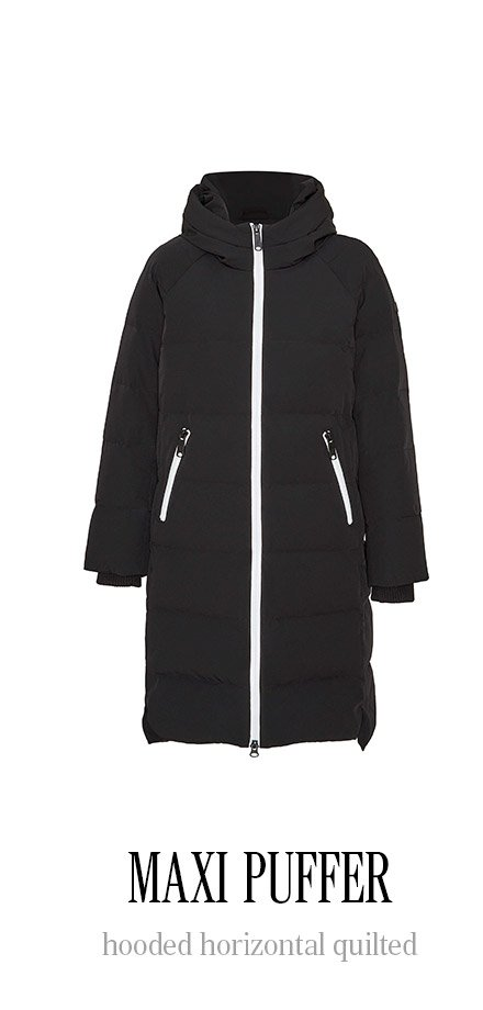 MAXI PUFFER hooded horizontal quilted