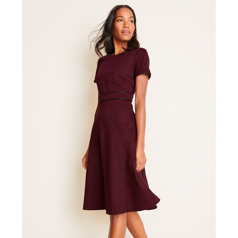 Faux Leather Trim Plaid Flare Dress