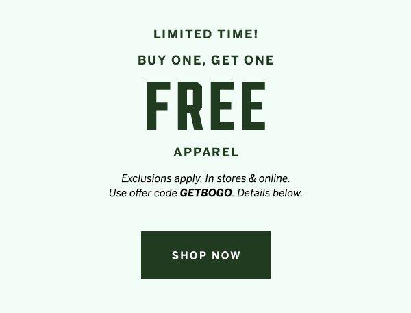BOGO Free Apparel +shop now
