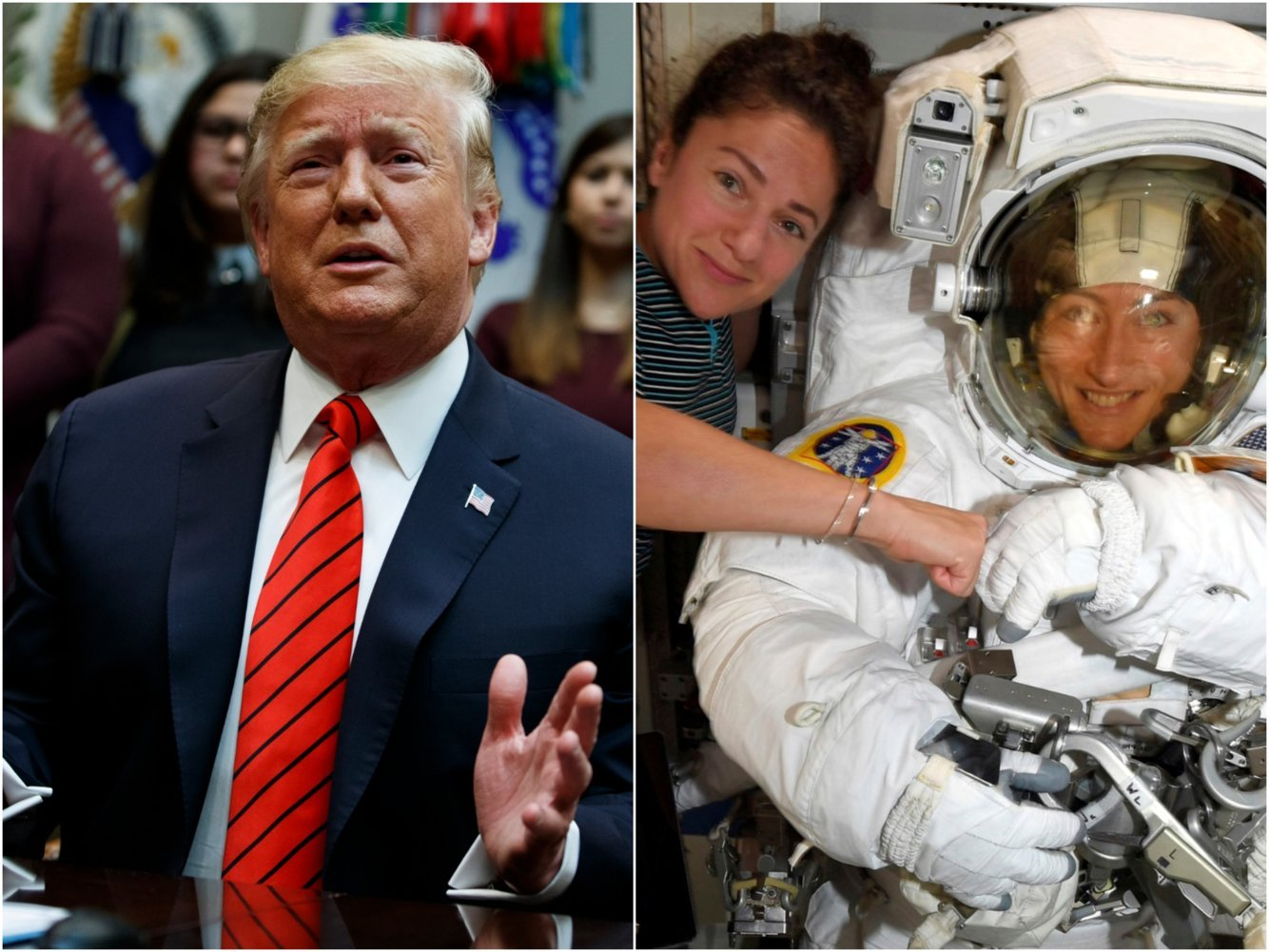 2 female astronauts politely corrected Trump midspacewalk after the president made a galling error