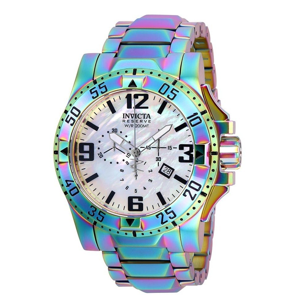 Invicta Reserve Mens Quartz 49.5mm Rainbow Plating Case White Dial