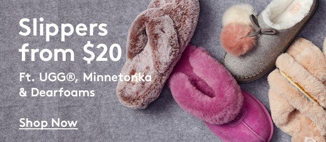 Slippers from $20 | Ft. UGG, Minnetonka & Dearfoams | Shop Now