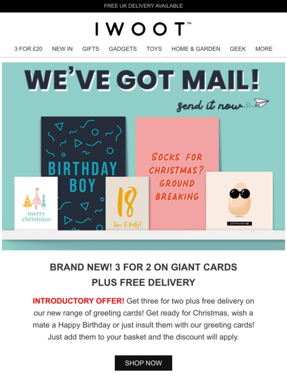 Iwantoneofthose Com Brand New 3 For 2 On Giant Cards Free Delivery Milled