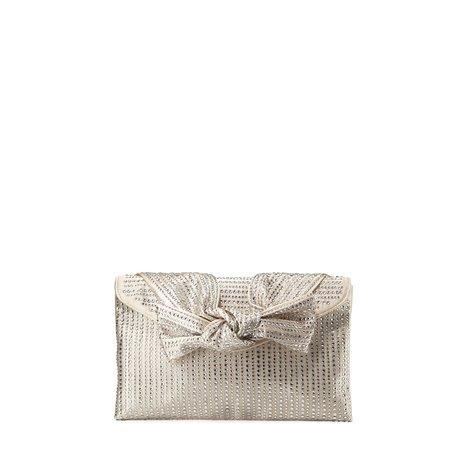 Neiman Marcus Embellished Satin Bow Clutch Bag