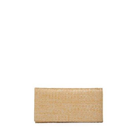 Neiman Marcus Raffia Gold Wash-Woven Flap Clutch Bag