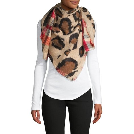 Plaid & Leopard-Print Reversible Scarf