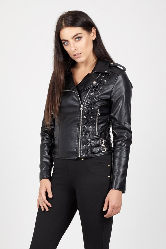 Lace Up Detail Biker Jacket