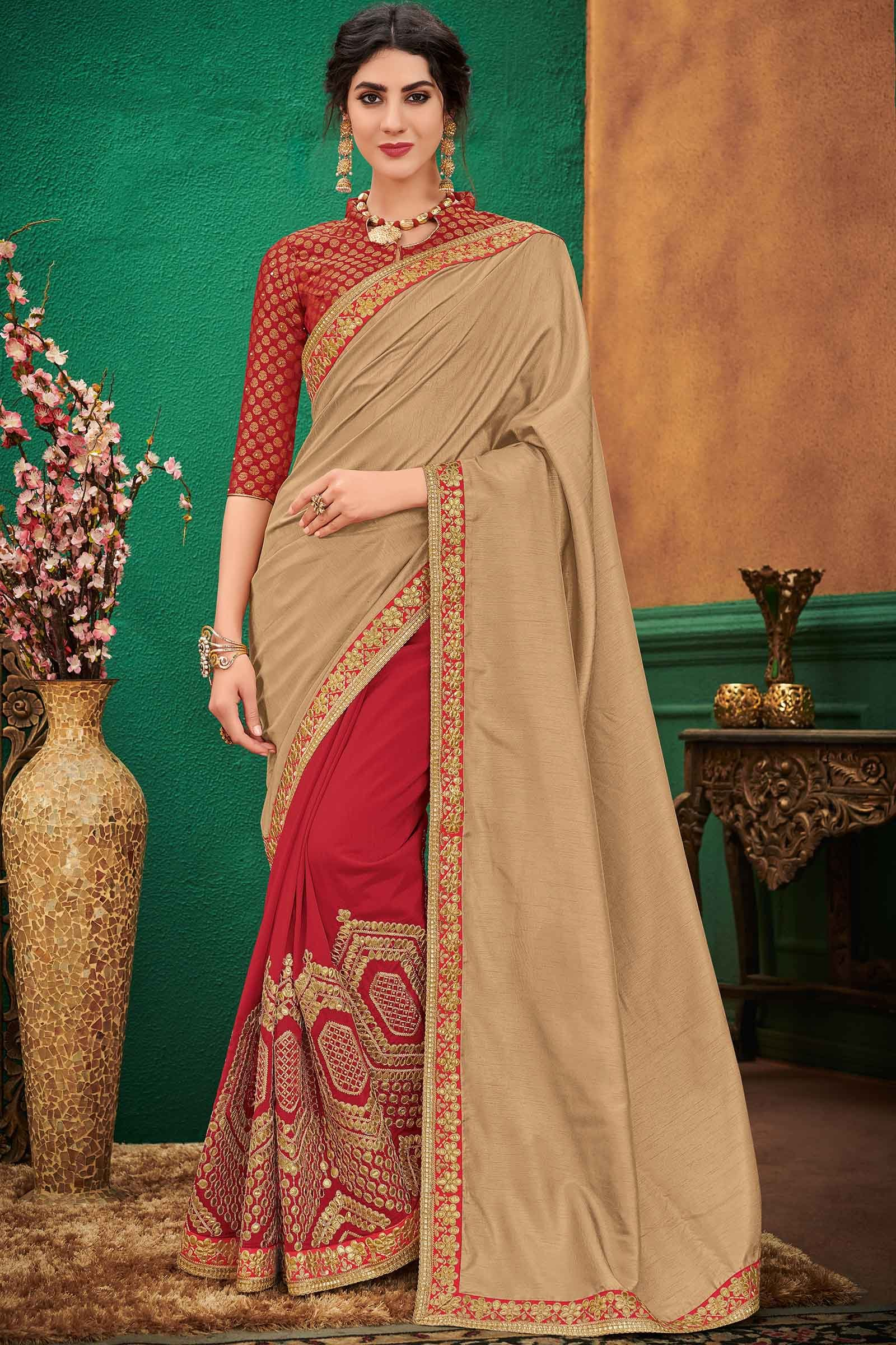 Silk Designer Saree In Beige and Red Colour