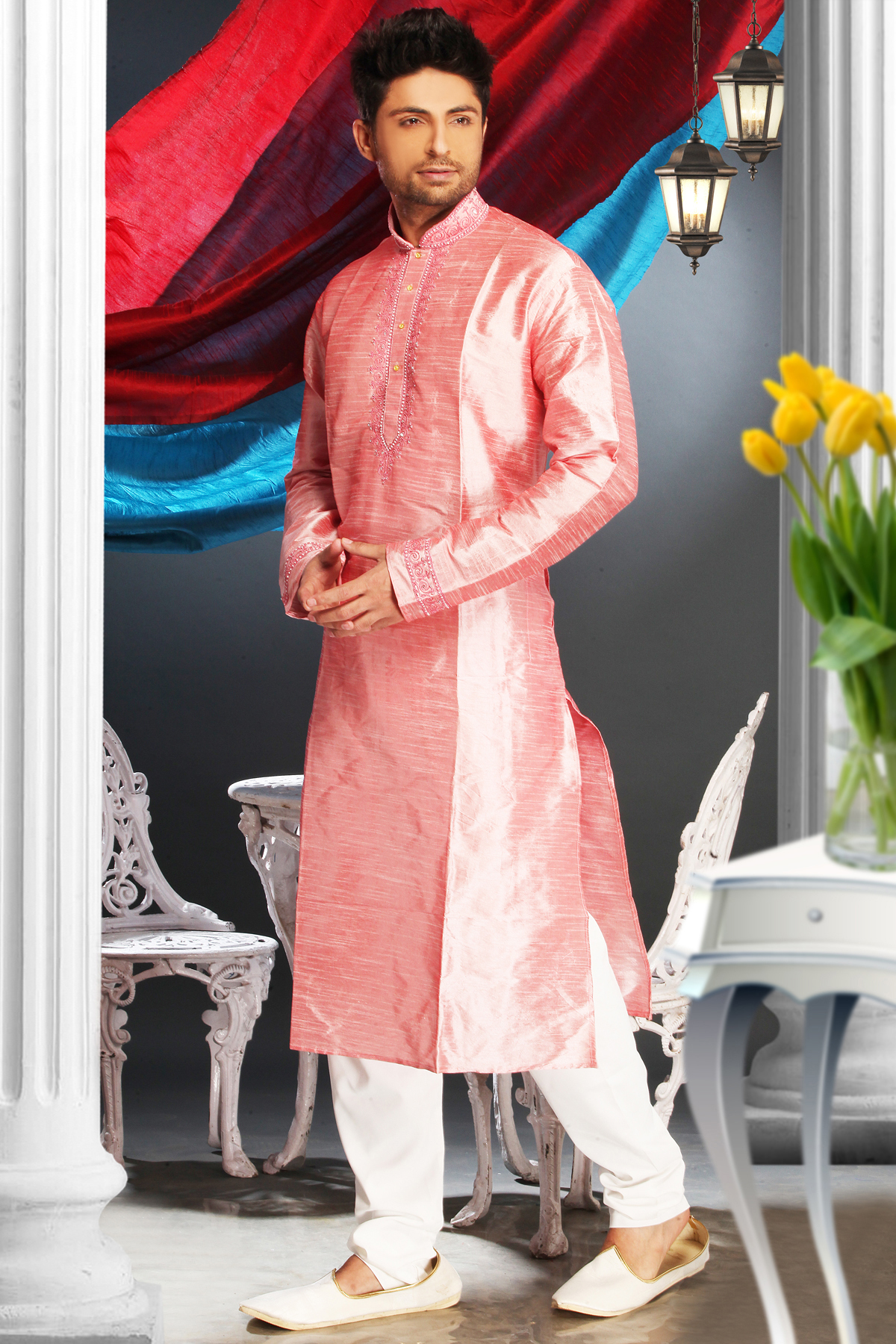 Art Silk Kurta Pajama In Pink Colour