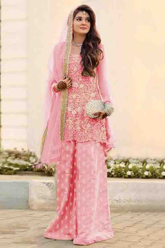 Net Embroidery Palazzo Pant Suit In Pink Colour