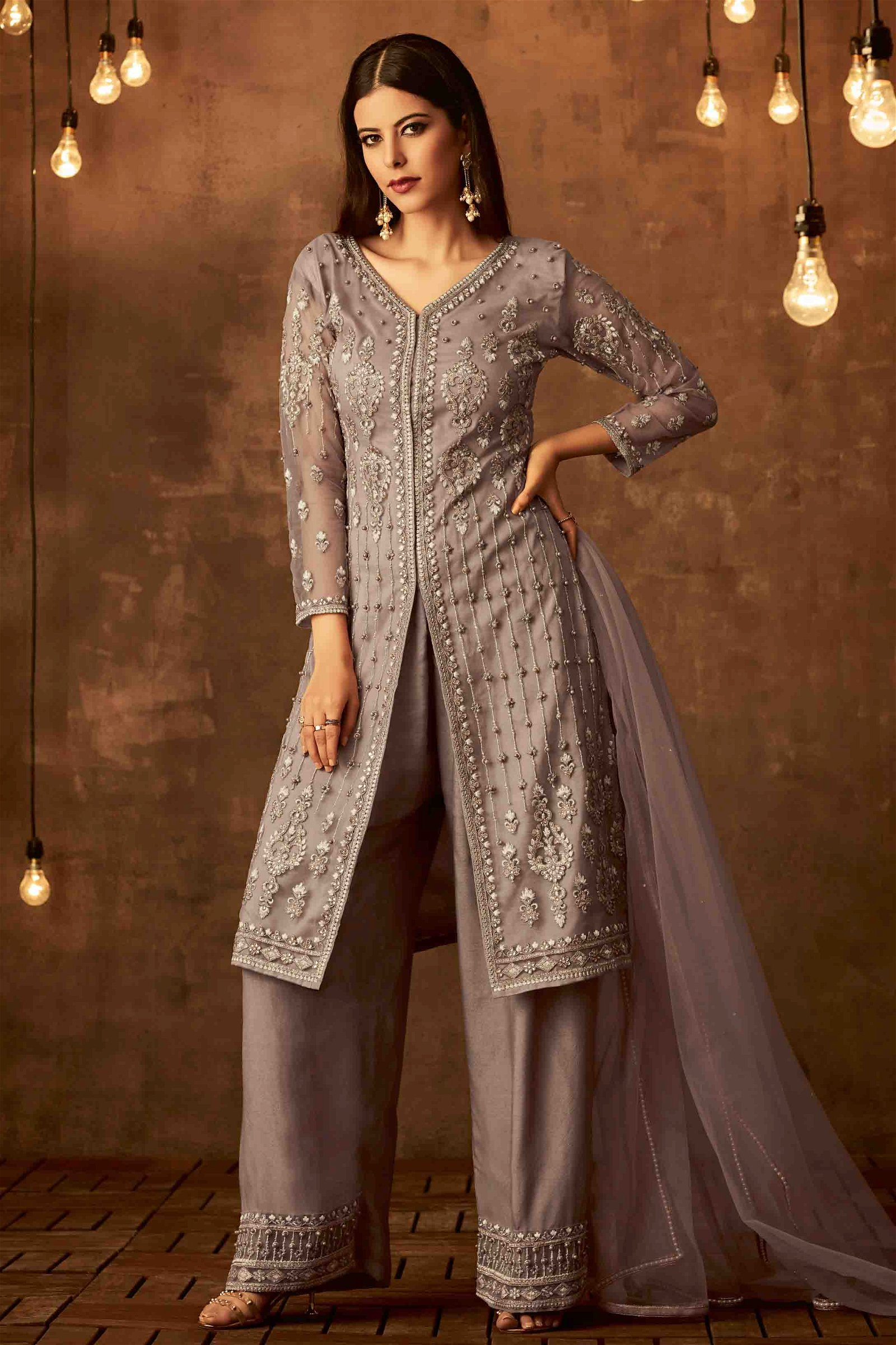 Net Embroidery Palazzo Pant Suit In Grey Colour