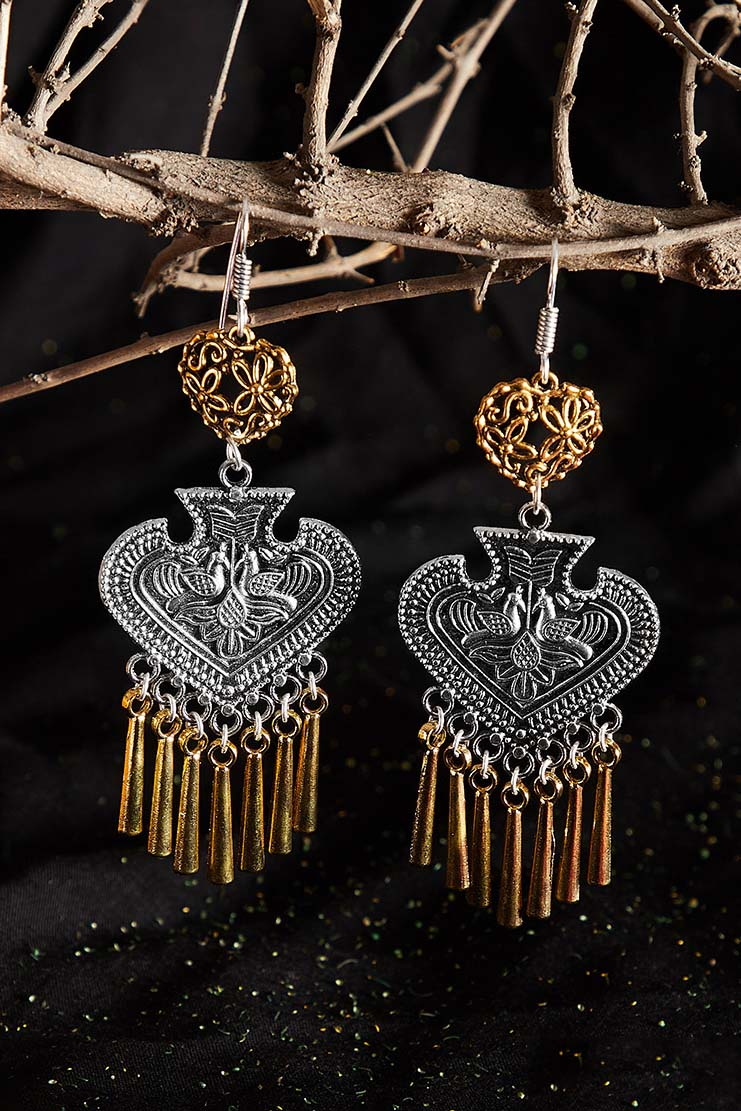 Dual toned Spade Oxidized Silver Earrings Embellished With Peacock Motifs