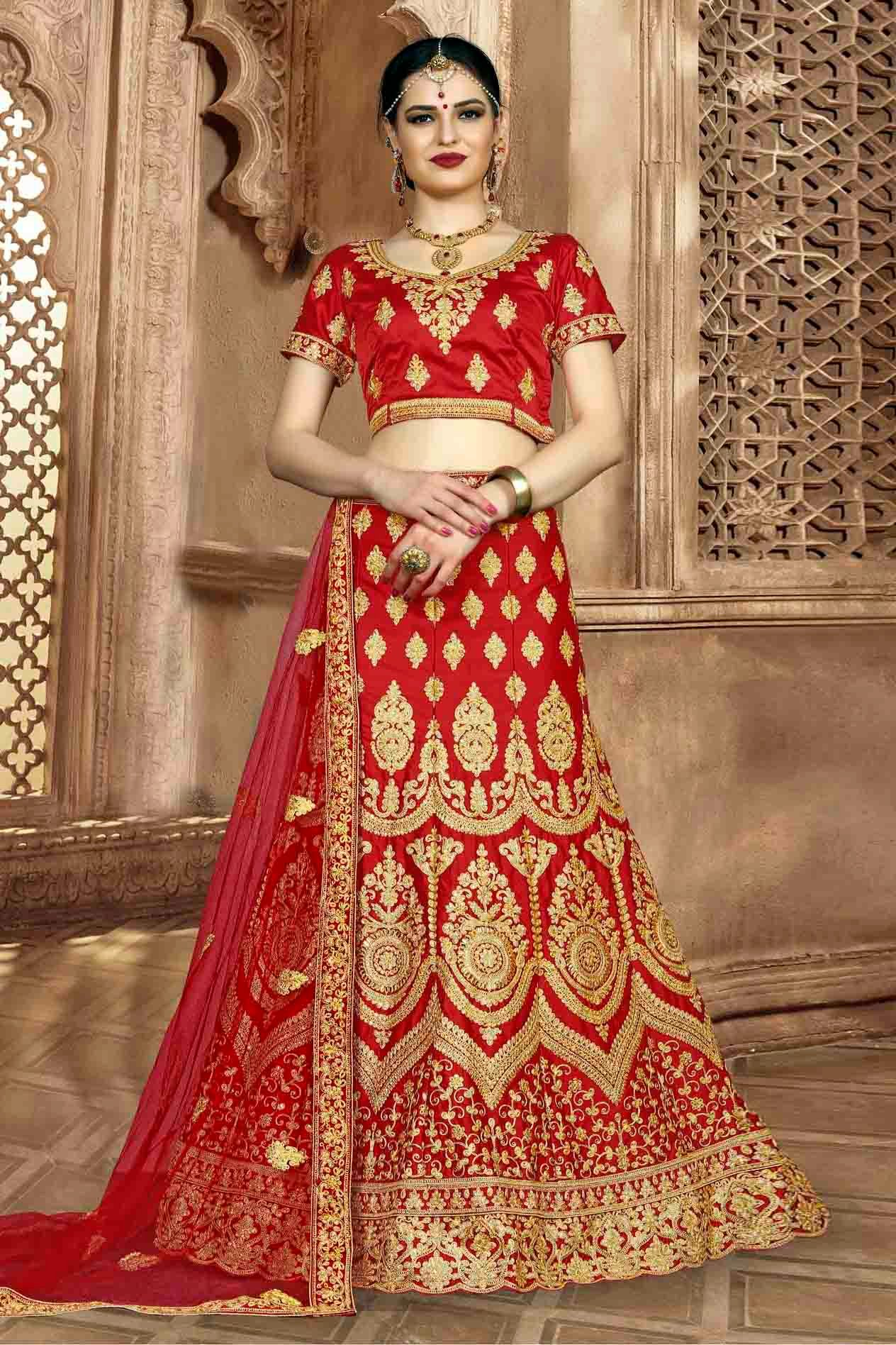 Silk Embroidery Lehenga Choli In Red Colour