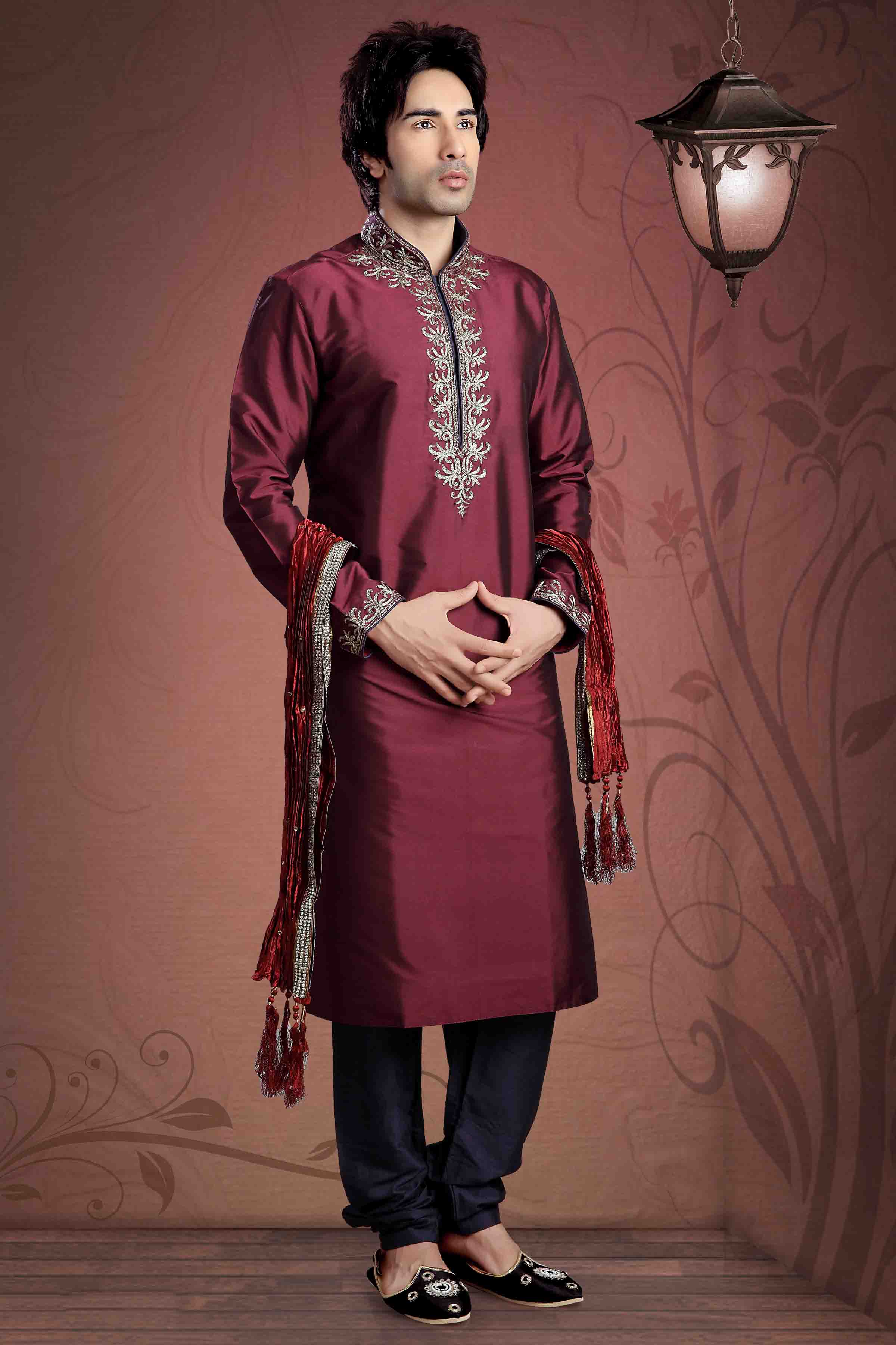 Taffeta Kurta Pajama In Maroon Colour