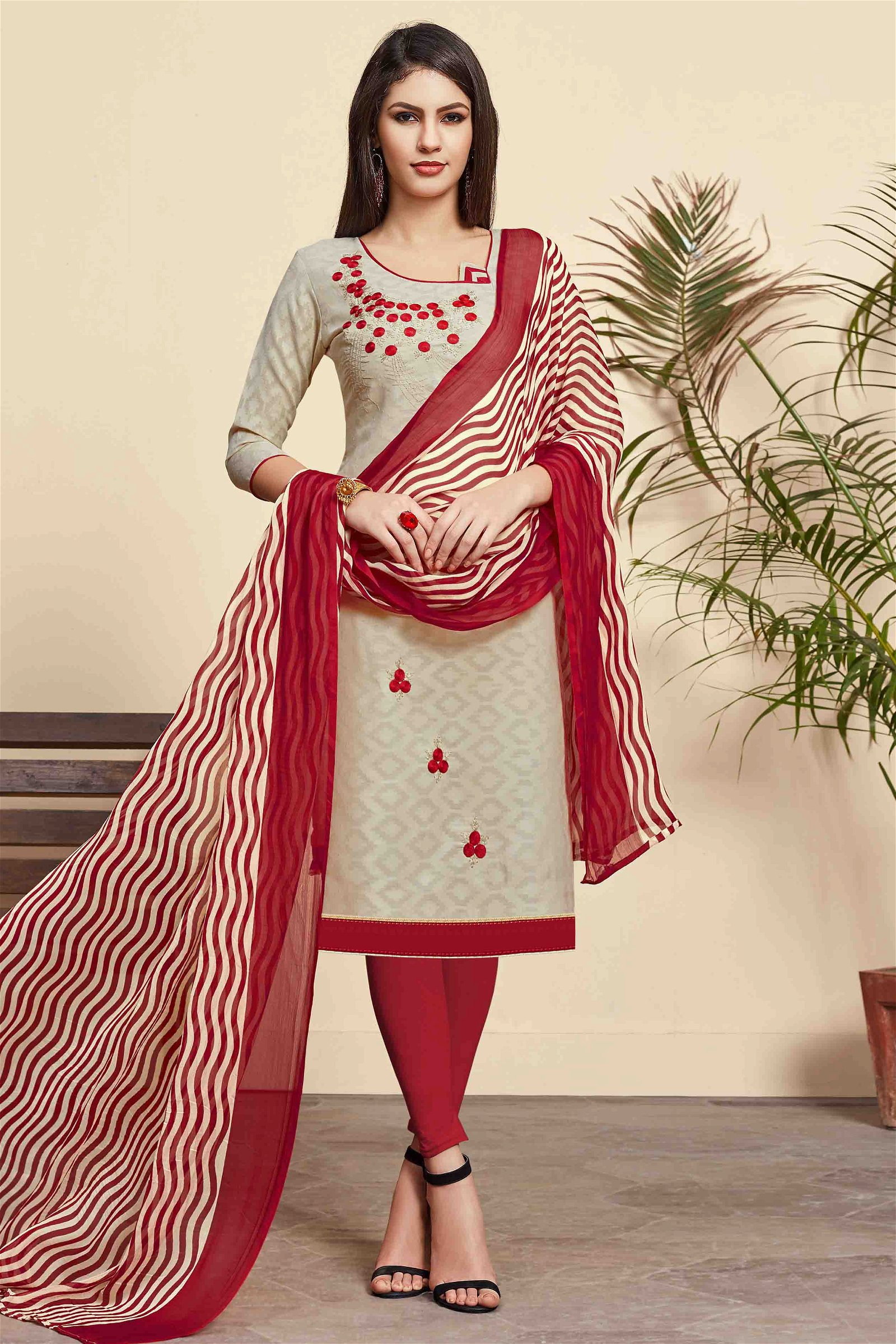 Unstitched Cotton Jacquard Embroidery Churidar Suit In Beige Colour