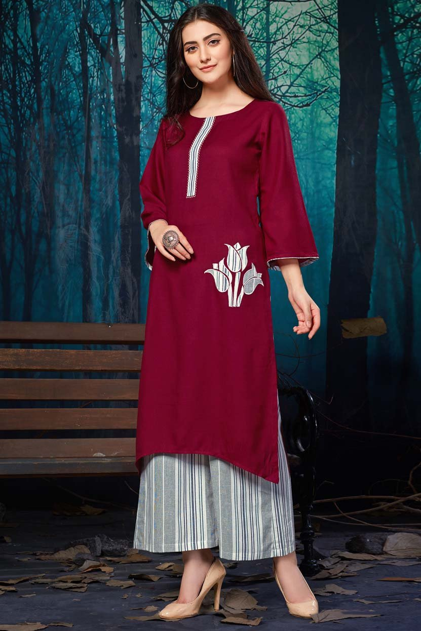Rayon Patch Work Kurti In Maroon Colour