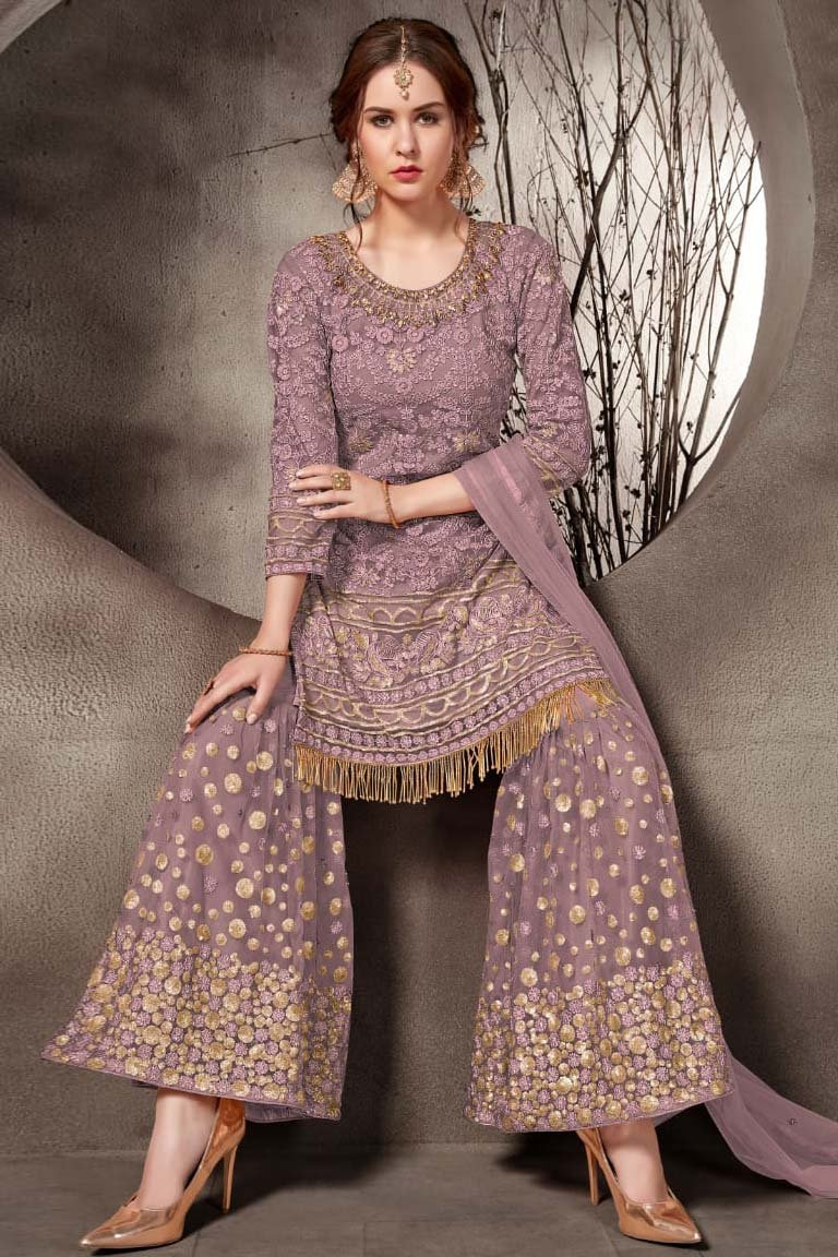 Net Embroidery Palazzo Pant Suit In Lavender Colour