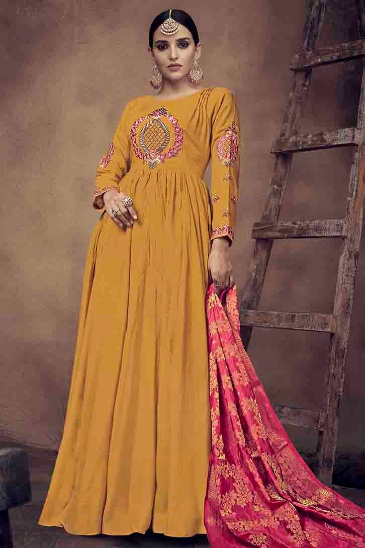 Rayon Embroidery Gown In Mustard Colour