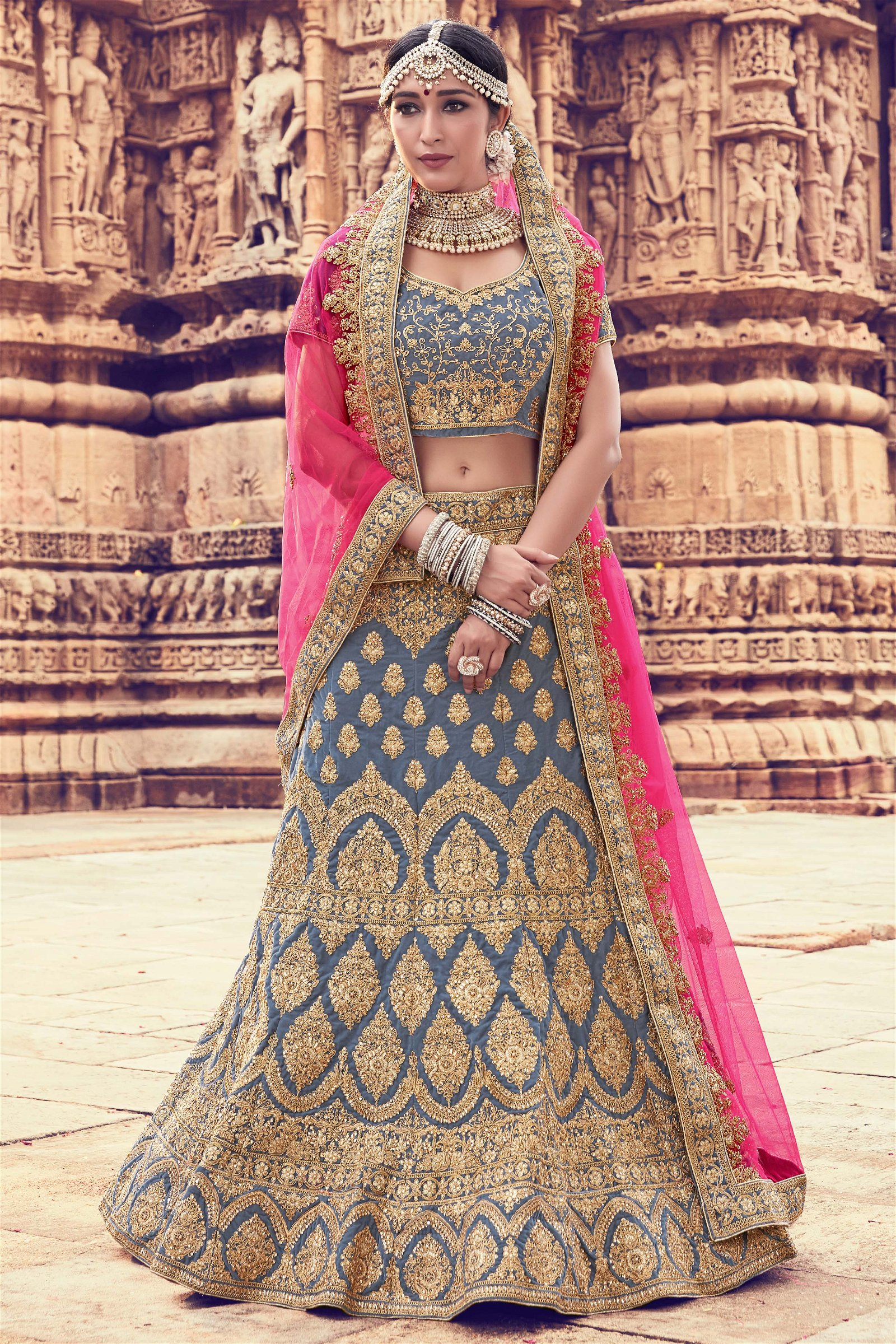 Velvet Embroidery Lehenga Choli In Grey Colour