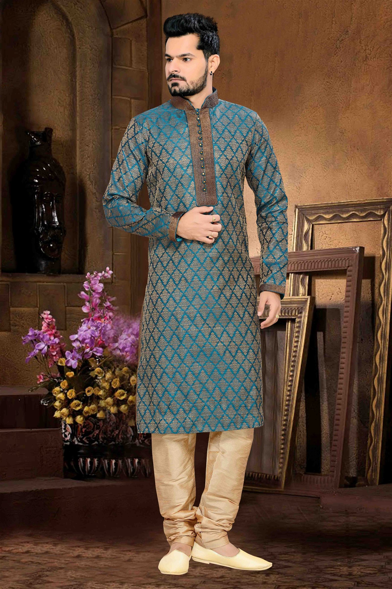 Jacquard Kurta Pajama In Teal Blue Colour