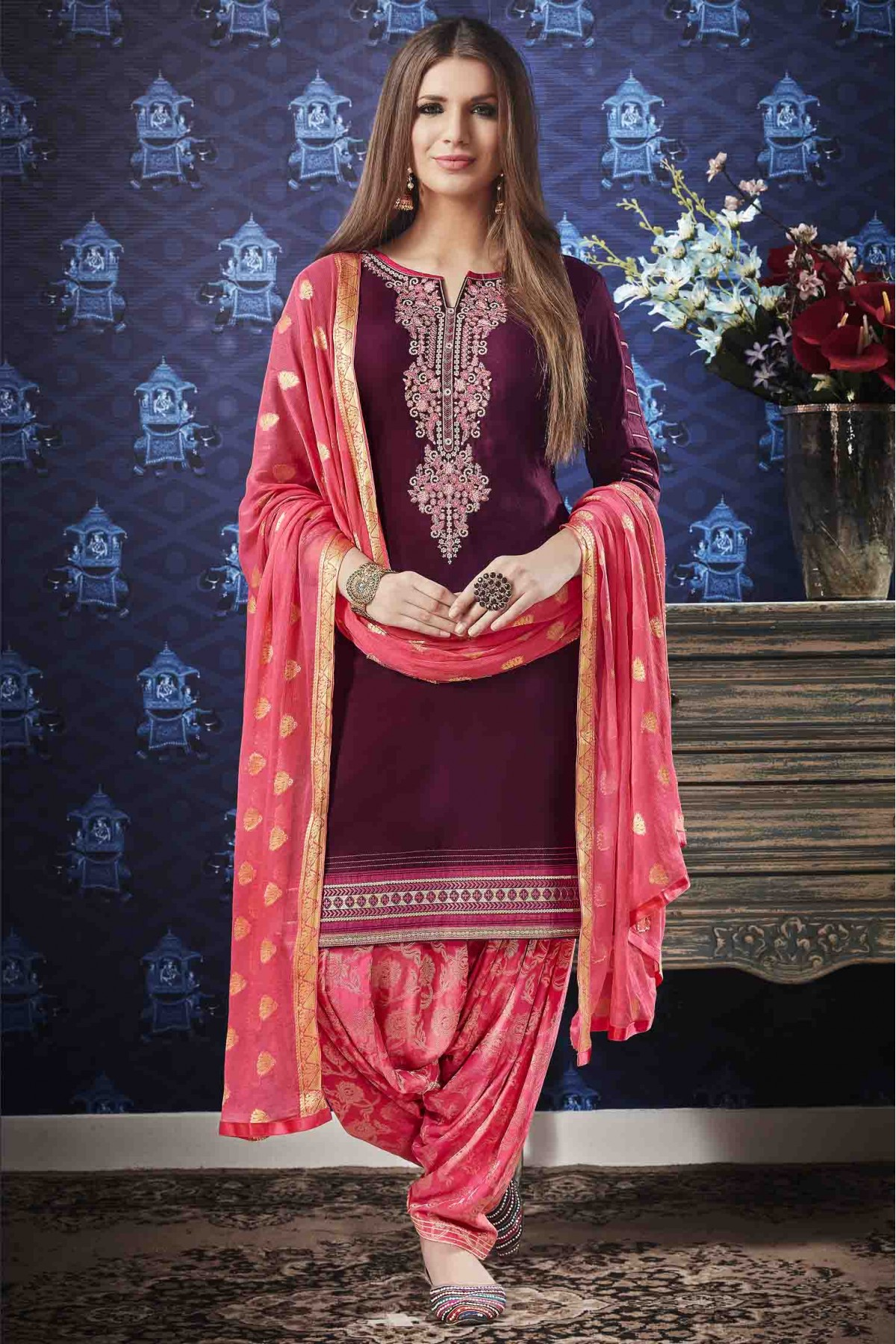 Cotton Satin Embroidery Patiala Suit In Maroon Colour
