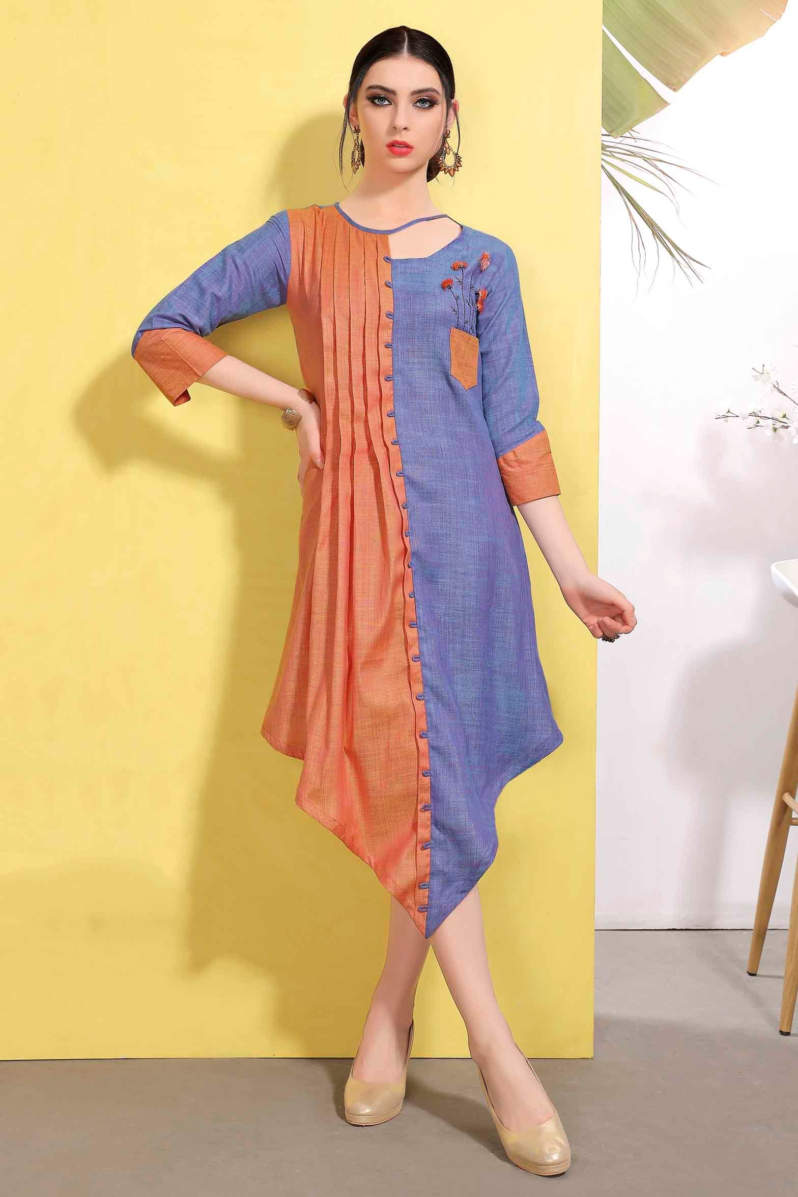 Cotton Embroidery Kurti In Blue And Orange Colour