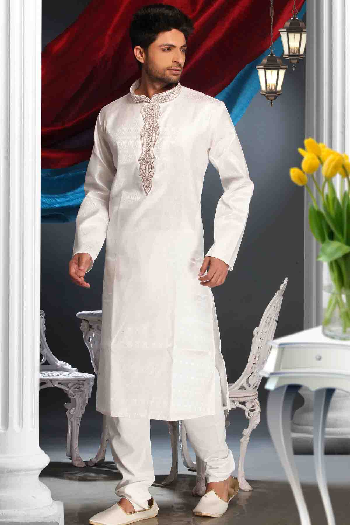 Synthetic Kurta Pajama In Off White Colour