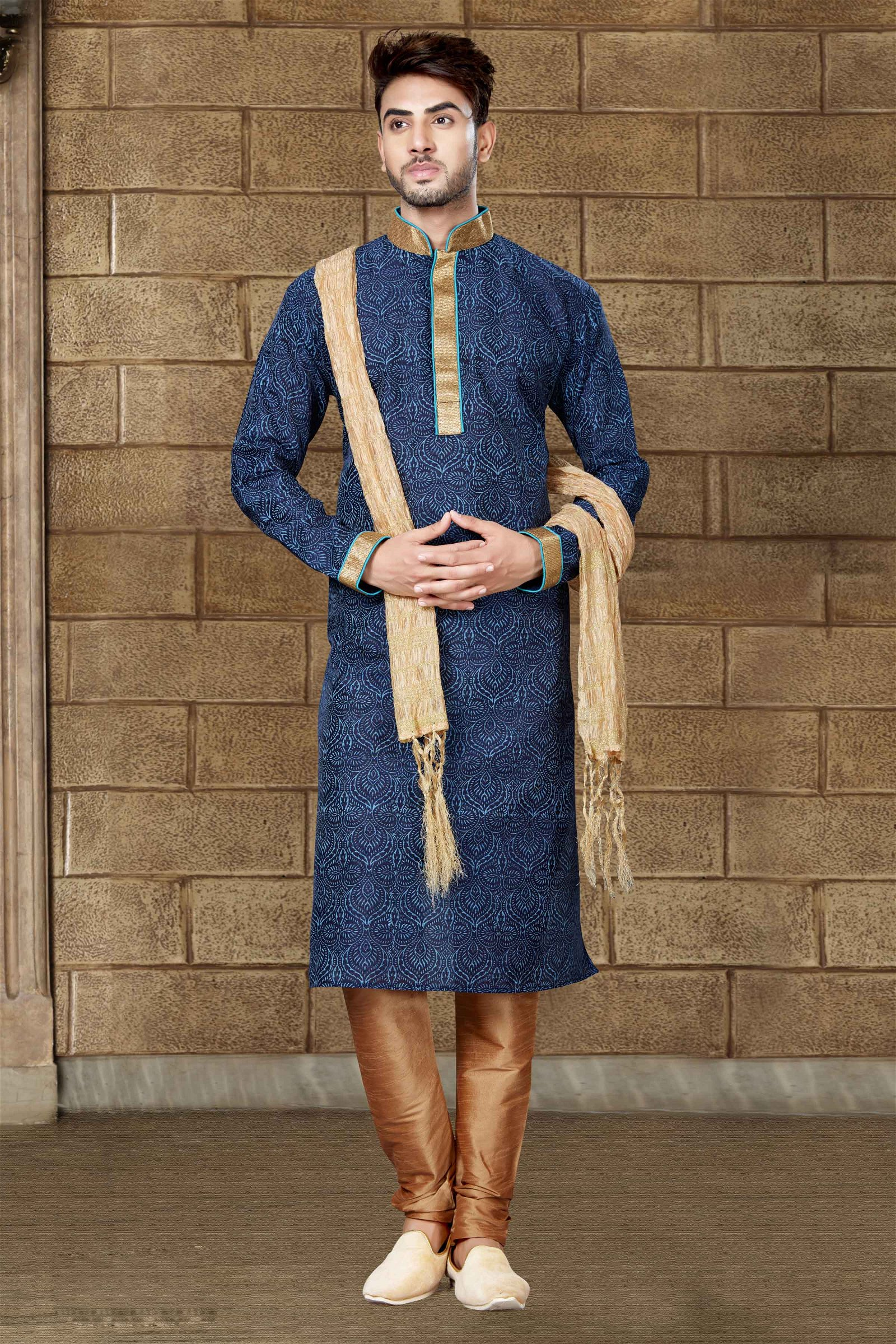 Banglori Silk Kurta Pajama In Nevy Blue Colour