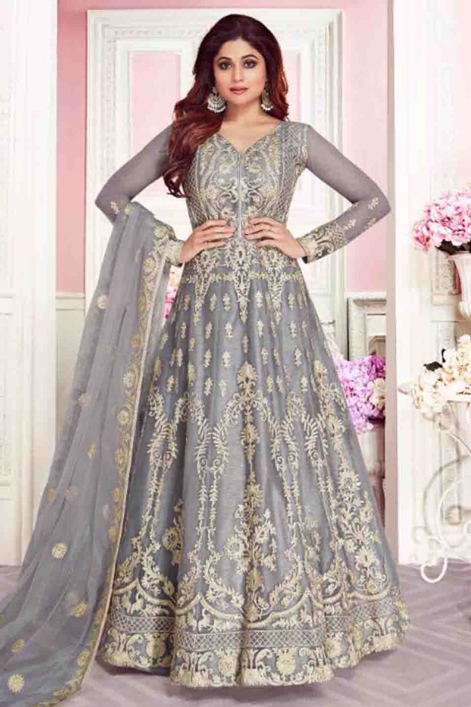 Shamita Shetty Net Embroidery Anarkali Suit In Grey Colour