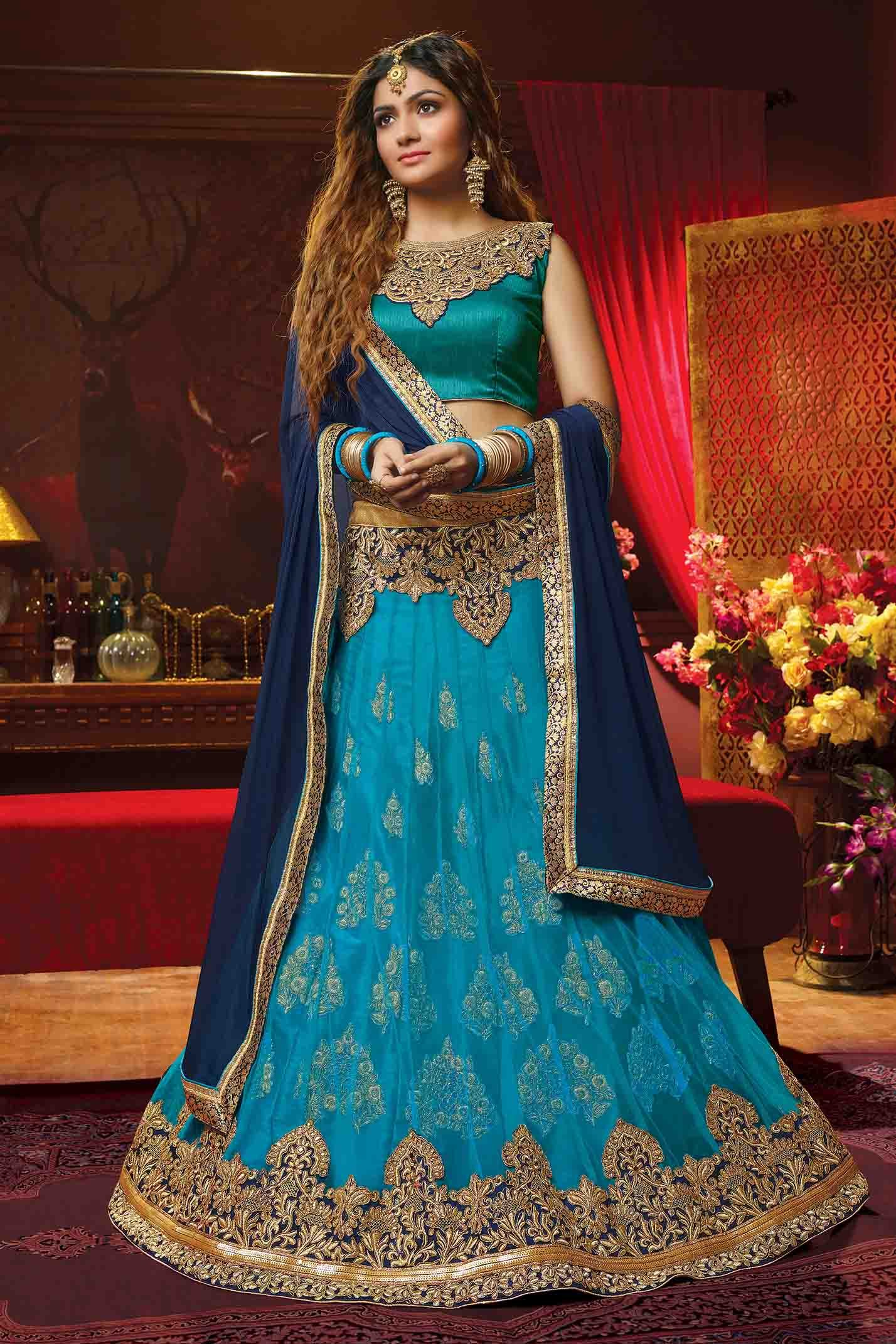 Jacquard Net Embroidery Lehenga Choli In Blue Colour