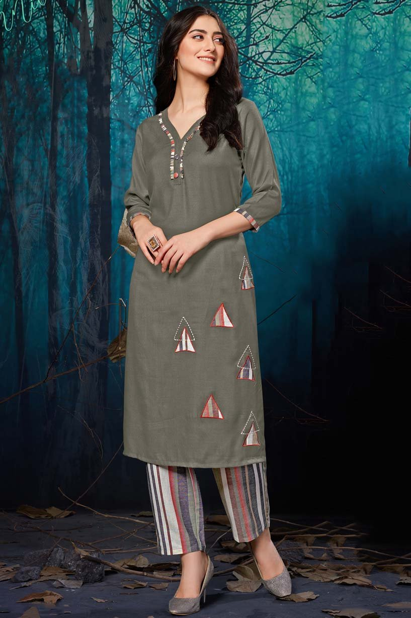 Rayon Patch Work Kurti In Grey Colour