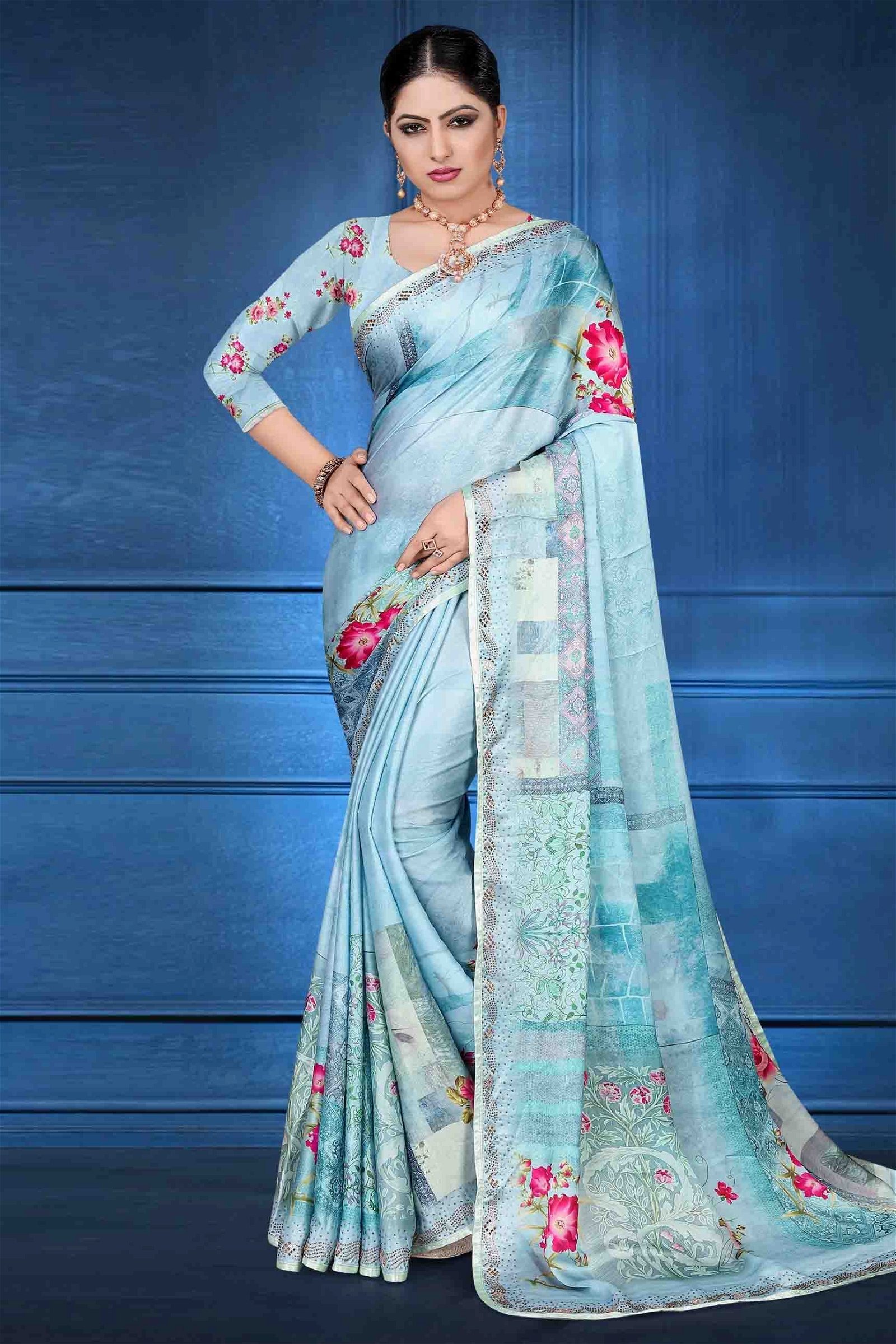 Satin Georgette Printed Saree In Sky Blue Colour
