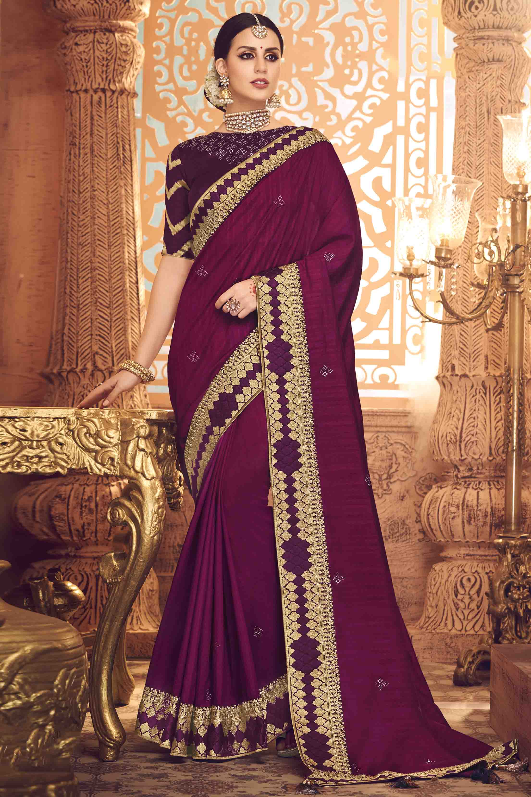 Satin Georgette Designer Saree In Magenta Colour