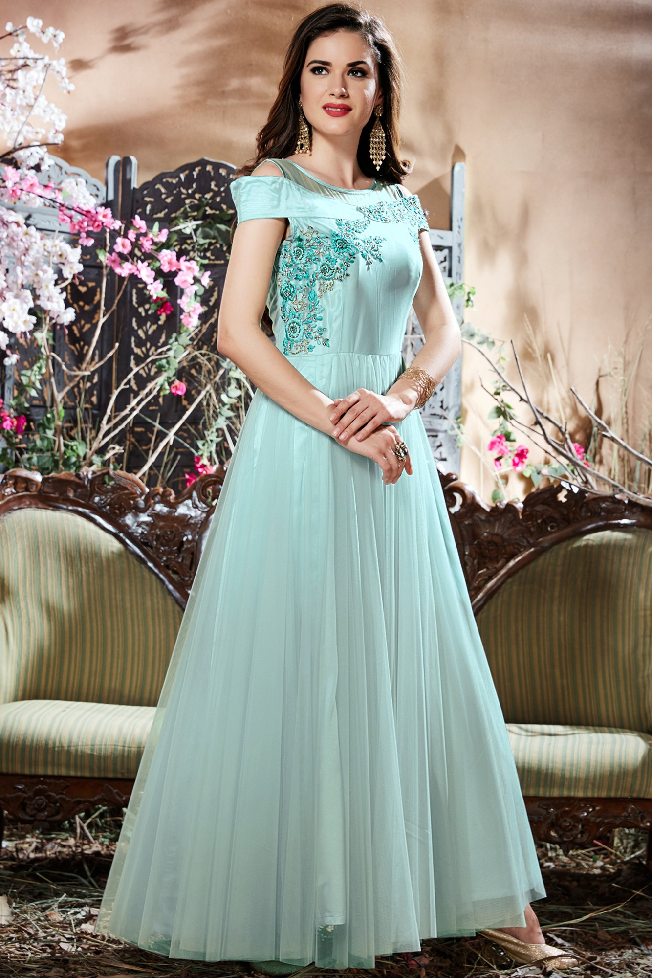 Net Gown In Sky Blue Colour