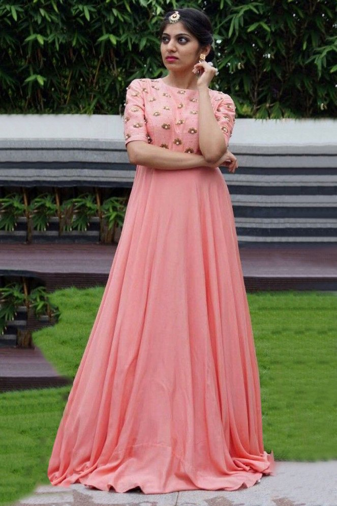 Youdesign Raw Silk Crepe Gown In Pink Colour Size Upto 66