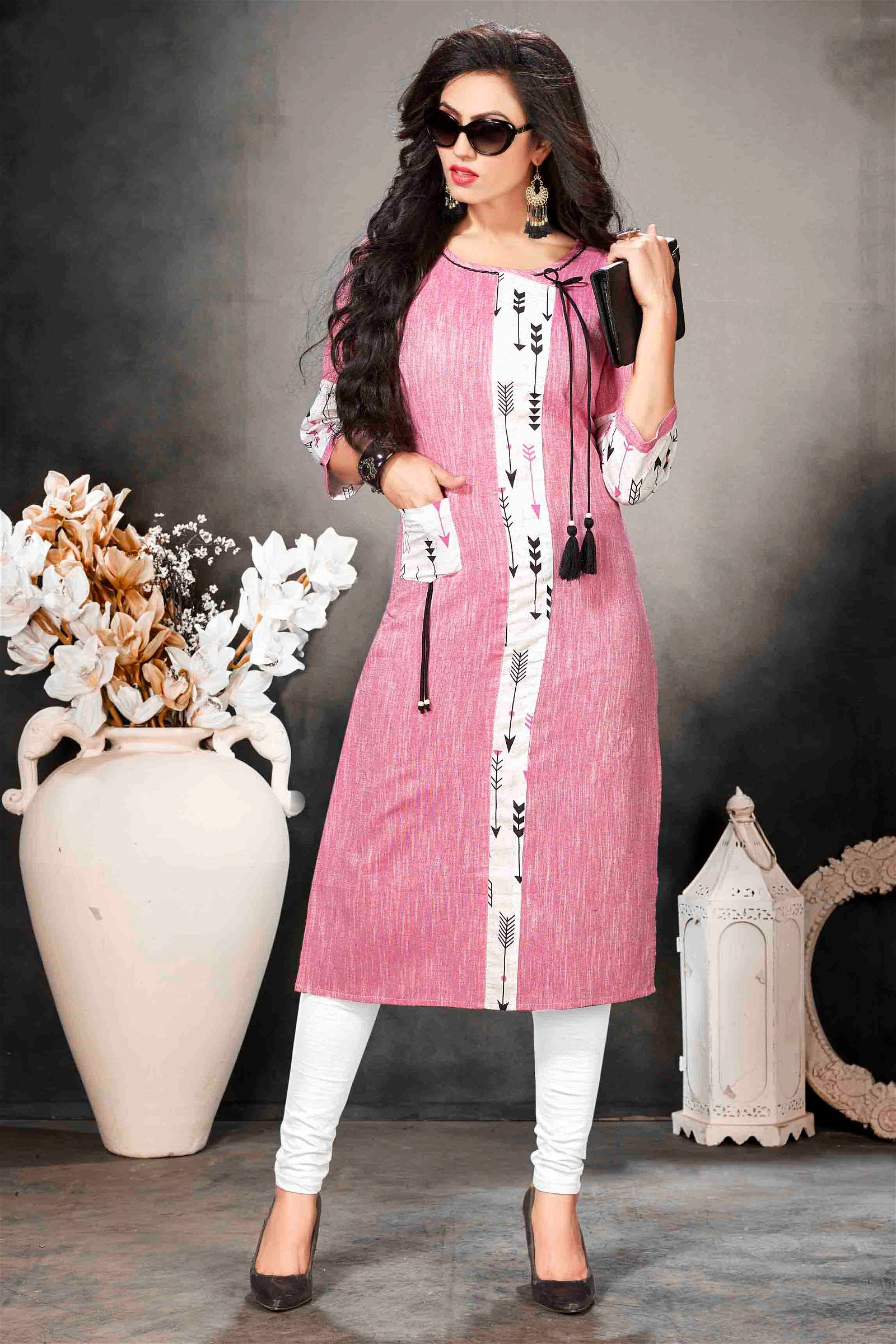 Khadi Cotton Hand Work Kurti In Pink Colour