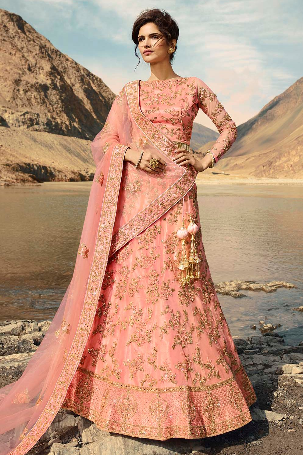 Net Embroidery Lehenga Choli In Pink Colour