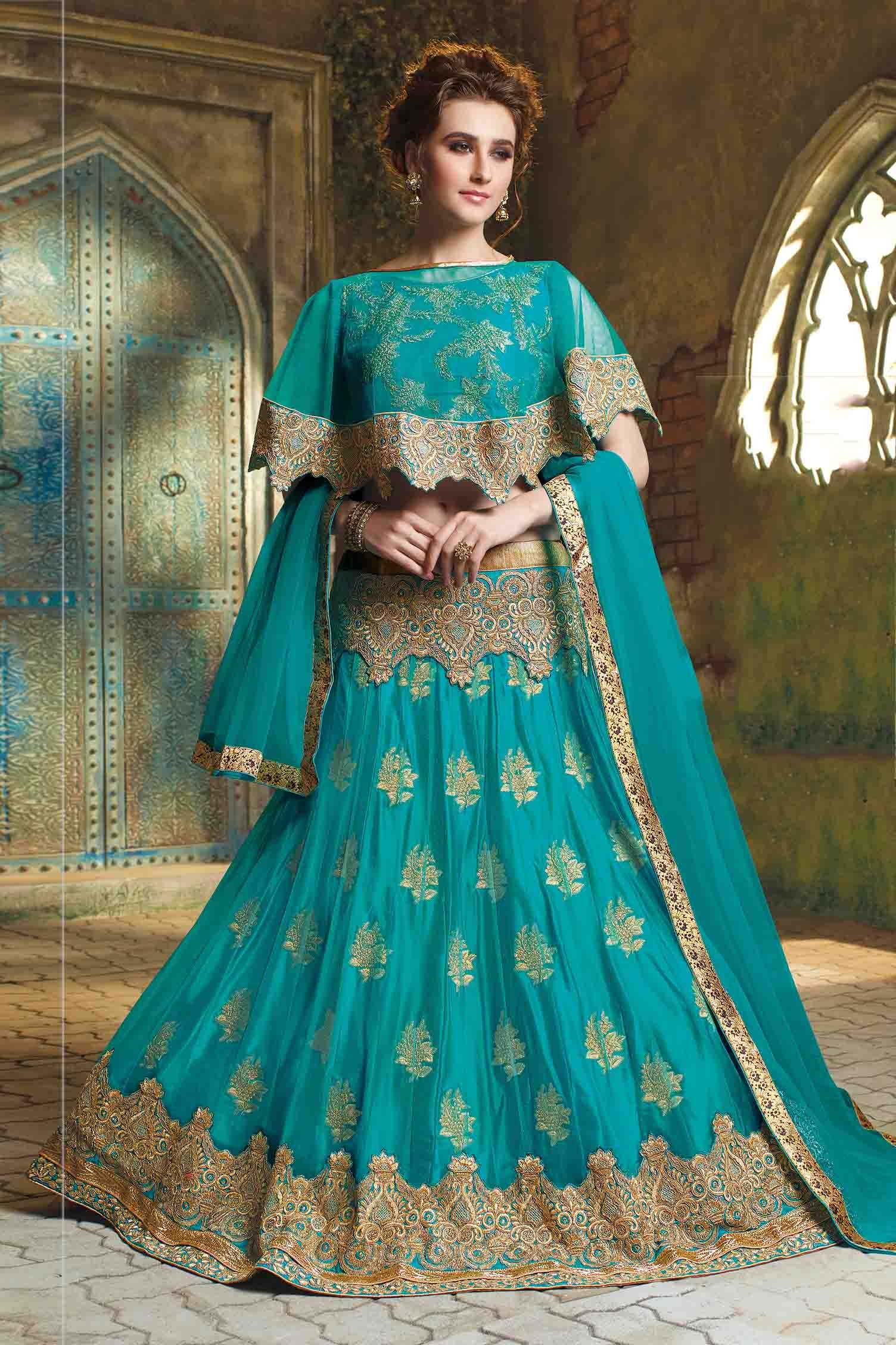 Jacquard Net Embroidery Crop Top Lehenga In Blue Colour
