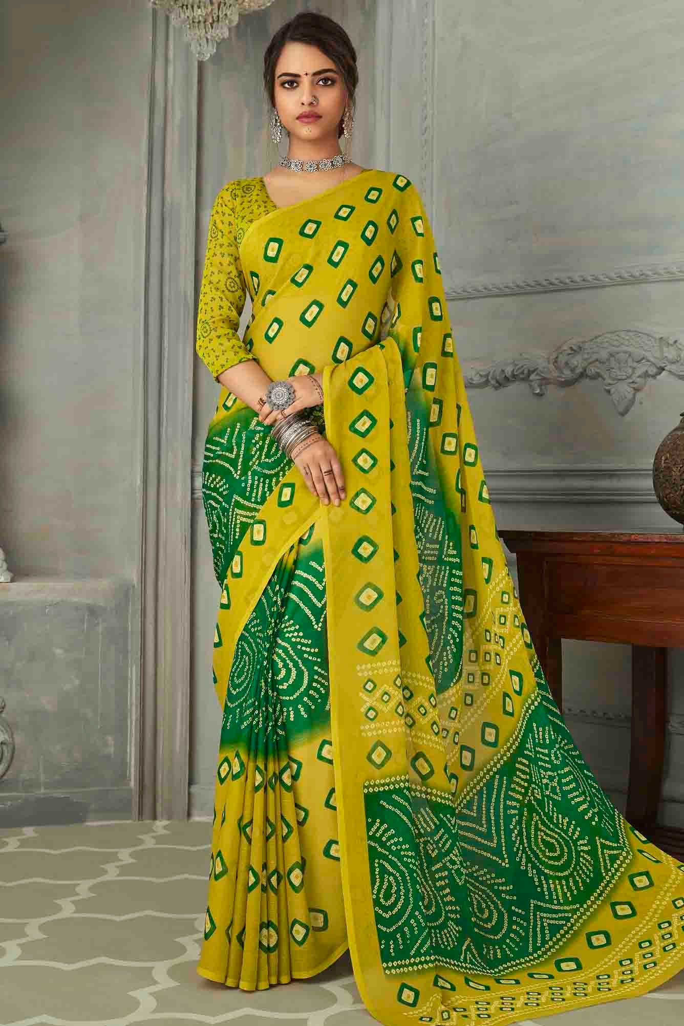 Chiffon Printed Saree In Lemon Green Colour