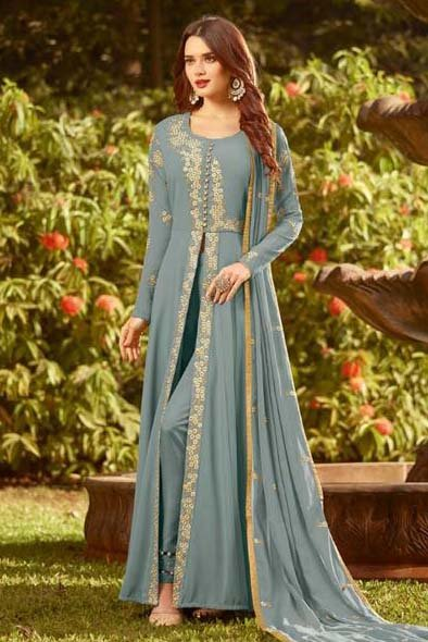 Georgette Embroidered Anarkali Suit In Sky Blue Colour